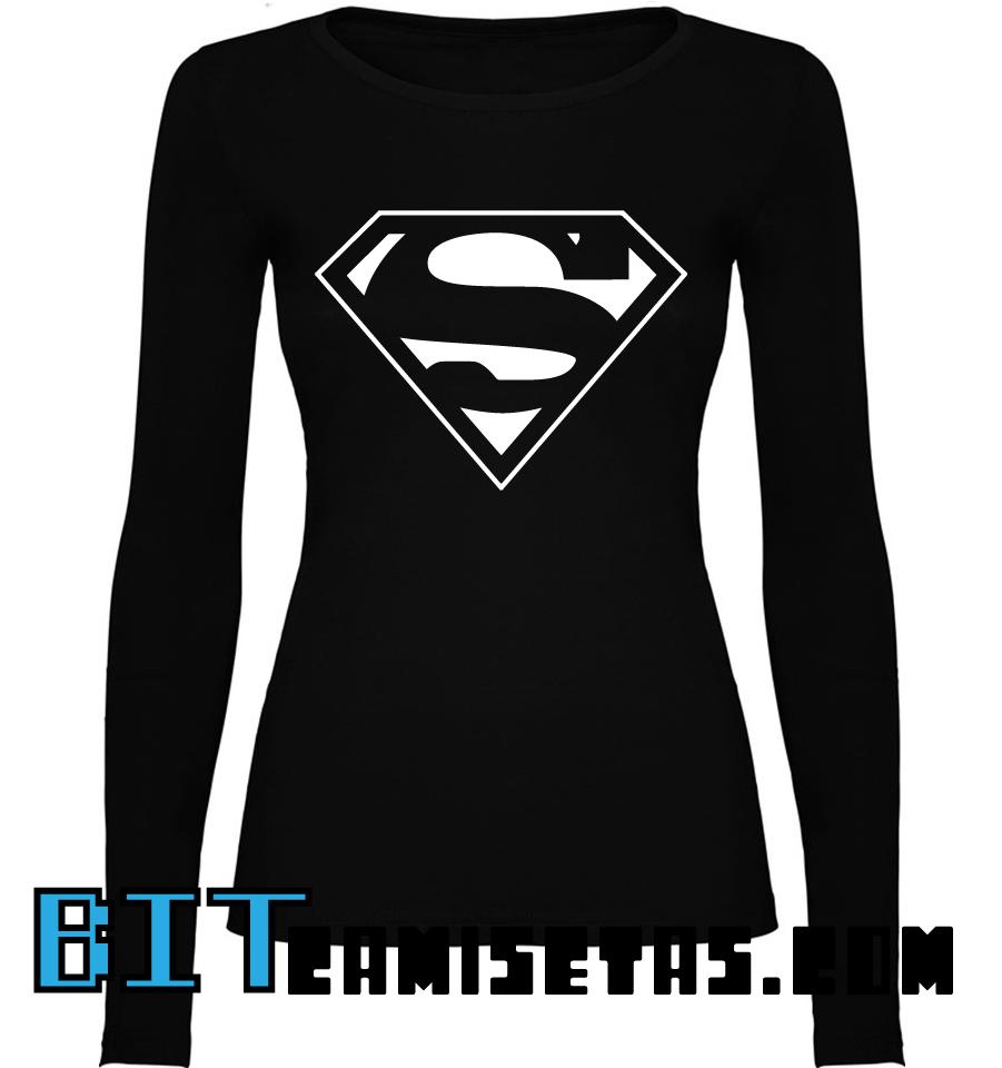 Camiseta Camiseta Camiseta Mujer Manga Larga Mujer Larga Superman Manga Superman Manga Superman tsdxhBQrC